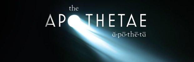 "The Apothetae Logo. Against a black background white text reads ""The Apothetae."" A light shines out of the letter ""o"" and ""apothetae"" is spelled out phonetically."