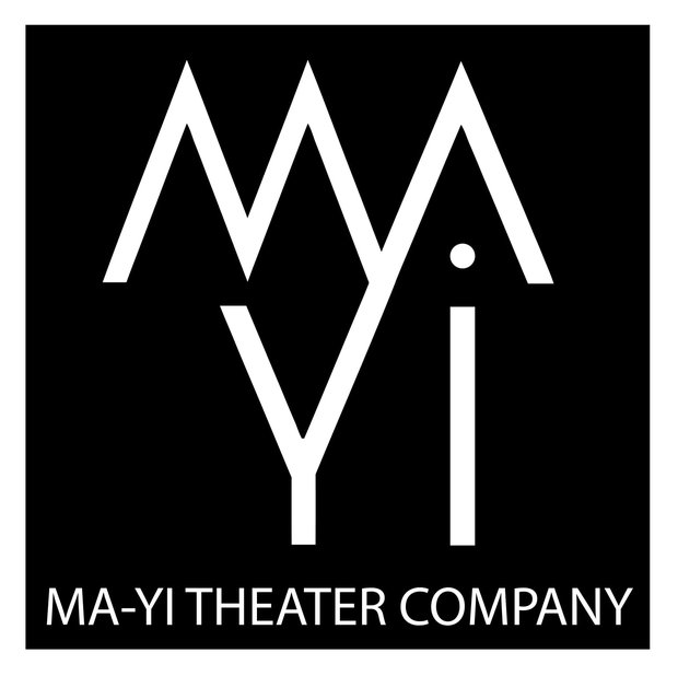 "Ma Yi Theater Company's logo. In a black square, white letters read ""MA Yi"" with ""MA"" stacked on top of ""Yi"""