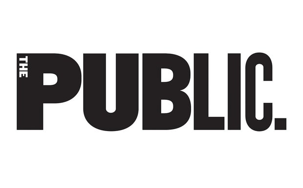 "The PUblic Theater's logo. Black lettering reads ""Public"" with a small white ""The"" appearing in the top left corner of the ""P""."