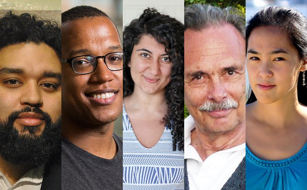 From left to right, narrow headshots of Nathan Alan Davis, Branden Jacobs-Jenkins, Sylvia Khoury, Arthur Kopit, and Lauren Yee