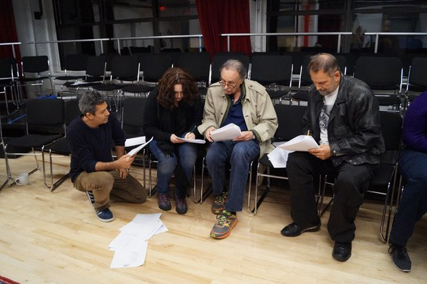 Arthur Kopit talks with actors of the Rita Goldberg's Playwrights' Workshop about his script in progress.