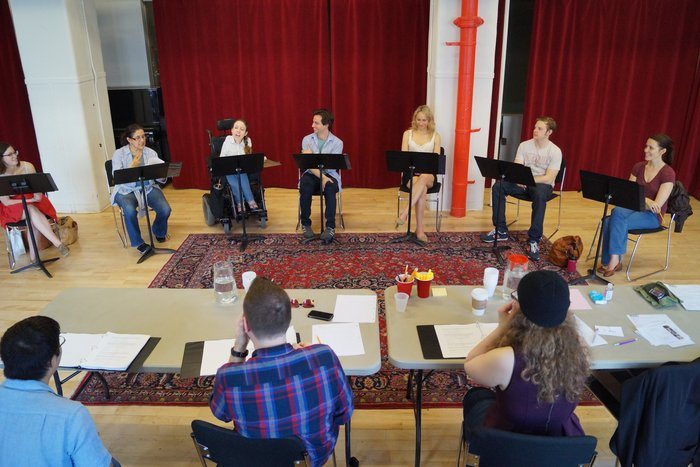 Gregg and the cast of TEENAGE DICK, by Mike Lew, in rehearsal at The Lark