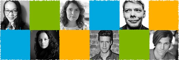 Headshots of the six writers of playwrights' week 2017, interspersed with color blocks.