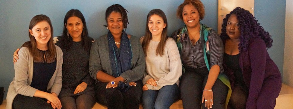 The 2016-17 Apprentice team at an Artist Hour with playwright Lynn Nottage. (From left to right: Sasha Sharova, Alexandra Gonzales, Lynn Nottage, Zoë Rhulen, Kimille Howard, Nissy Aya)