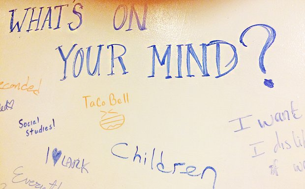 "blue marker on dry erase board reads ""What's on your mind?"""