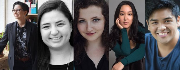 Headshots of The Lark's 2017-18 Apprentices. In order - A.A. Brenner, Sarah Machiko Haber, Chloe Knight, Mona Moriya, and Christopher Reyes.
