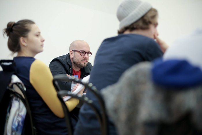 Robert Askins works on a translation of Hand to God, Moscow, 2016.
