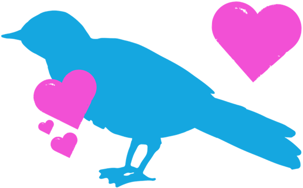 A blue bird icon surround by pink hearts