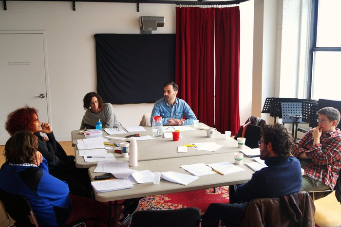 The team at work during rehearsals of Amahl Khouri's SHE, HE, ME
