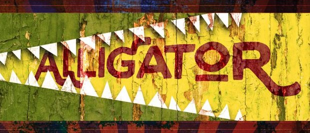 Logo for ALLIGATOR by Hilary Bettis. Teeth painted on to a yellow fence bear down on the title.