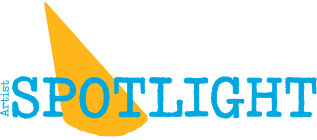 "A graphic of a yellow light shining down against a white background. Cutting through the center of the light, blue lettering reads ""Artist Spotlight"""