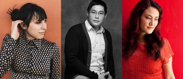 Olivia Dufault tucks her hair behind her ear, Mike Lew sits on a stool and stares into the camera, Susan Soon He Stanton poses in a red dress against a red background, looking at the ground.