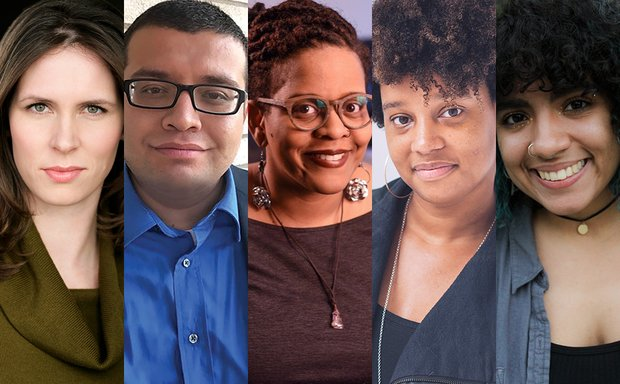 Narrow headshots of, from left to right, Erin Buckley, Franky D. Gonzalez, Stacey Rose, Charly Evon Simpson, and Juliany Taveras
