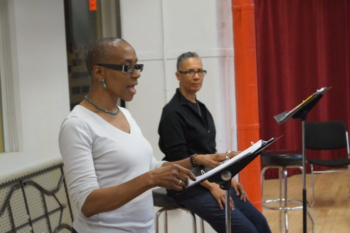 Sharon Bridgforth & Dr. Omi Osun Joni L. Jones rehearse RIVER SEE/THEATRICAL JAZZ & AESTHETIC SCHOLARSHIP