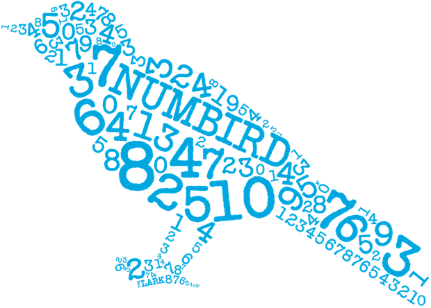 A series of numbers, all jumbled up, in blue type, form the shape of a bird.
