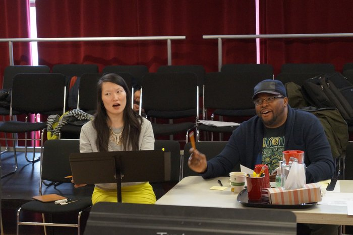 Director Jenny Koons and Playwright Idris Goodwin share a smile during rehearsals of BARS AND MEASURES