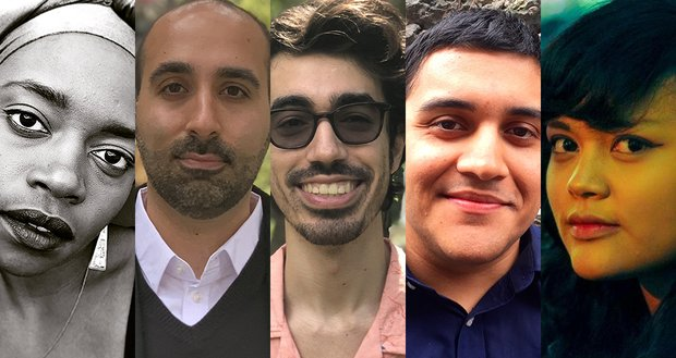 Headshots of five playwrights in a row. From left to right, Diane Exavier, Shayan Lofti, Omar Velez Melendez, Jaymes Sanchez, and Ren Dara Santiago.