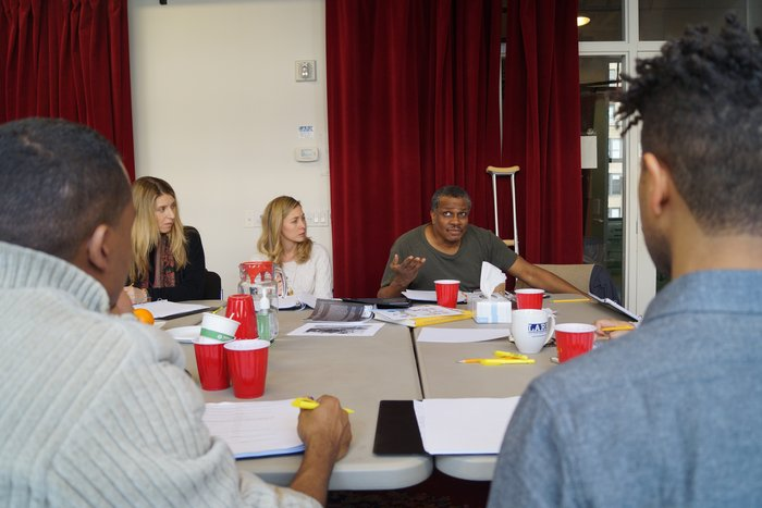 Playwright Alexander Thomas talks shop during rehearsals of his SCHWARTZ GEMACHT OR KLAUS FINDS HIS BLACKNESS