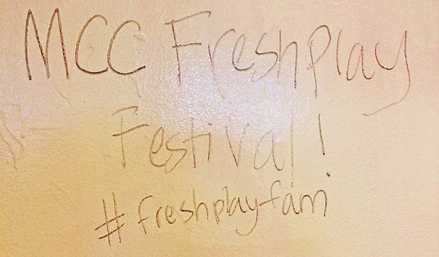 "black marker on dry erase board reads ""MCC Fresh Play Festival! #freshplayfam"""