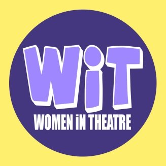 "WIT in lavender, capital letter, against a dark purple circle, inside a yellow square. The tagline reads ""Women in Theater."""