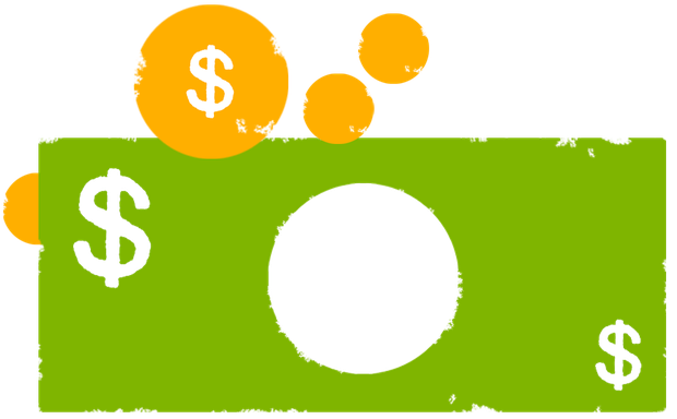 Icon of a green bill and yellow coins, each with the dollar sign imposed on them.
