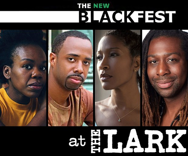 The New Black Fest logo, underneath it the headshots of the Ngozi Anyanwu, NSangou Njikam, Liza Jessie Peterson, and James Anthony Tyler. Underneath them, the Lark logo.