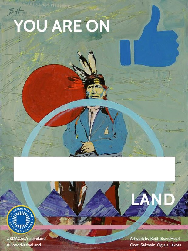 A drawing of an Indigenous man. Text reads You are on BLANK land. A banner is left blank, to be filled in with the name of the Indigenous people who were the caretakers of the land the sign is placed at.
