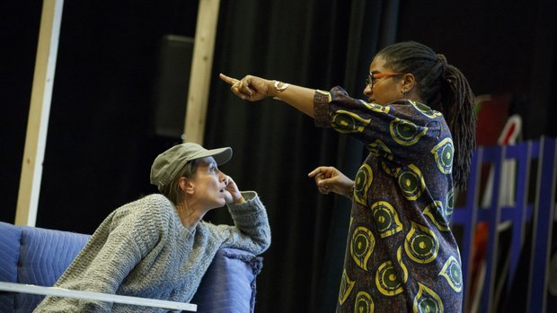 Lynn Nottage in rehearsal for SWEAT