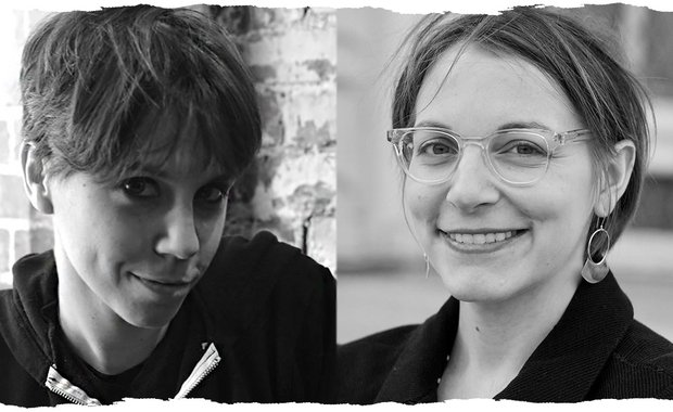 Black and white. On the left, a close of up Jen Silverman, her head tipped slightly down and to the right. She wears a sweatshirt and is framed from her shoulders up. On the right, Anna Ziegler, also from her shoulder up, smiles into the camera.